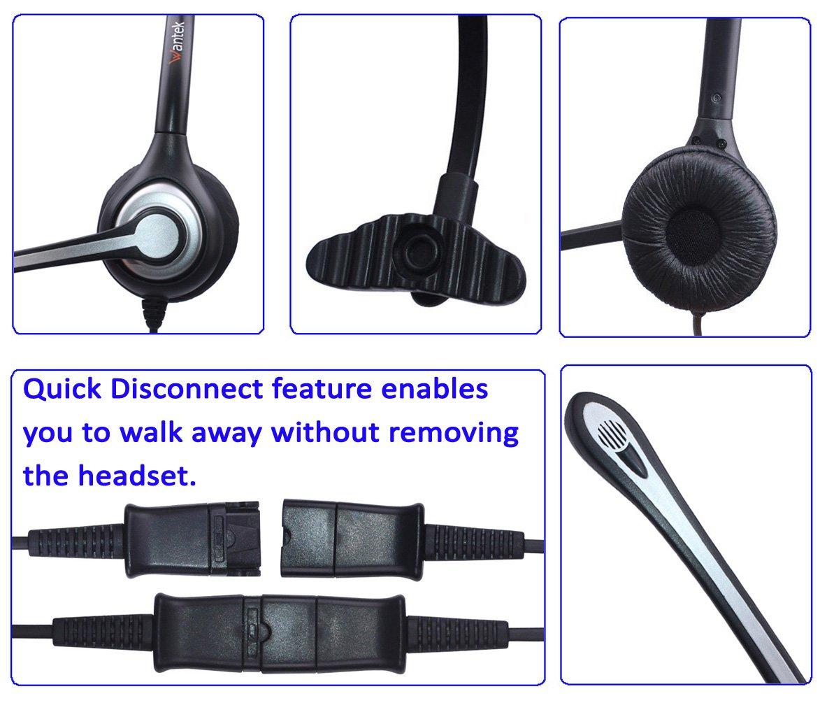 Auriculares Teléfono Fijo RJ9 Mono, Micrófono con Cancelación de Ruido, Quick Disconnect, WANTEK Cascos Centro de Llamadas para Yealink Avaya Cisco ...