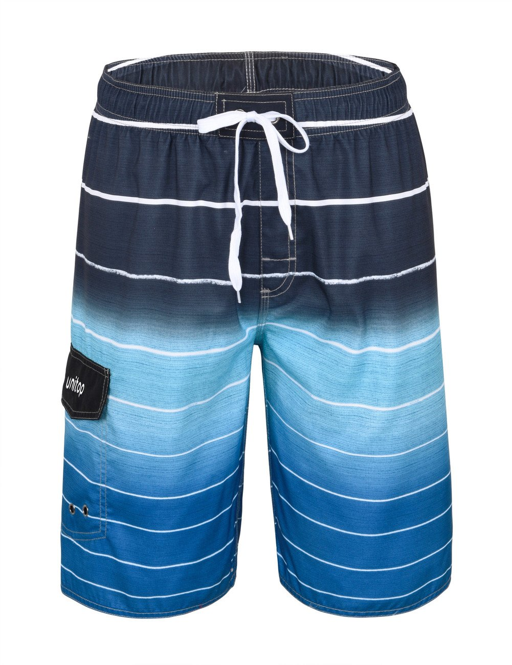 Unitop Men's Colortful Striped Swim Trunks Bathing Beach Board Shorts with Lining Blue-32 by Unitop