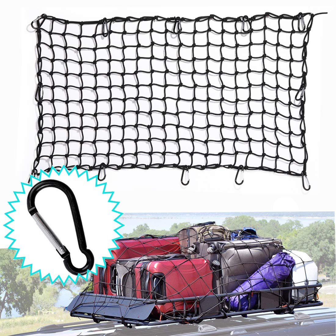 Cargo Net 2' X 3.4' Heavy Duty Truck Bed Bungee Nets Stretches to 3.2' X 5.8' with 12pcs D Shape Aluminum Carabiners Universal for Pickup Truck SUV Trailer Boat RV BOKA