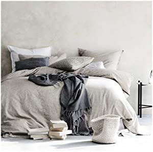 Eikei Washed Cotton Chambray Duvet Cover Solid Color Casual Modern Style Bedding Set Relaxed Soft Feel Natural Wrinkled Look (Queen, Neutral)
