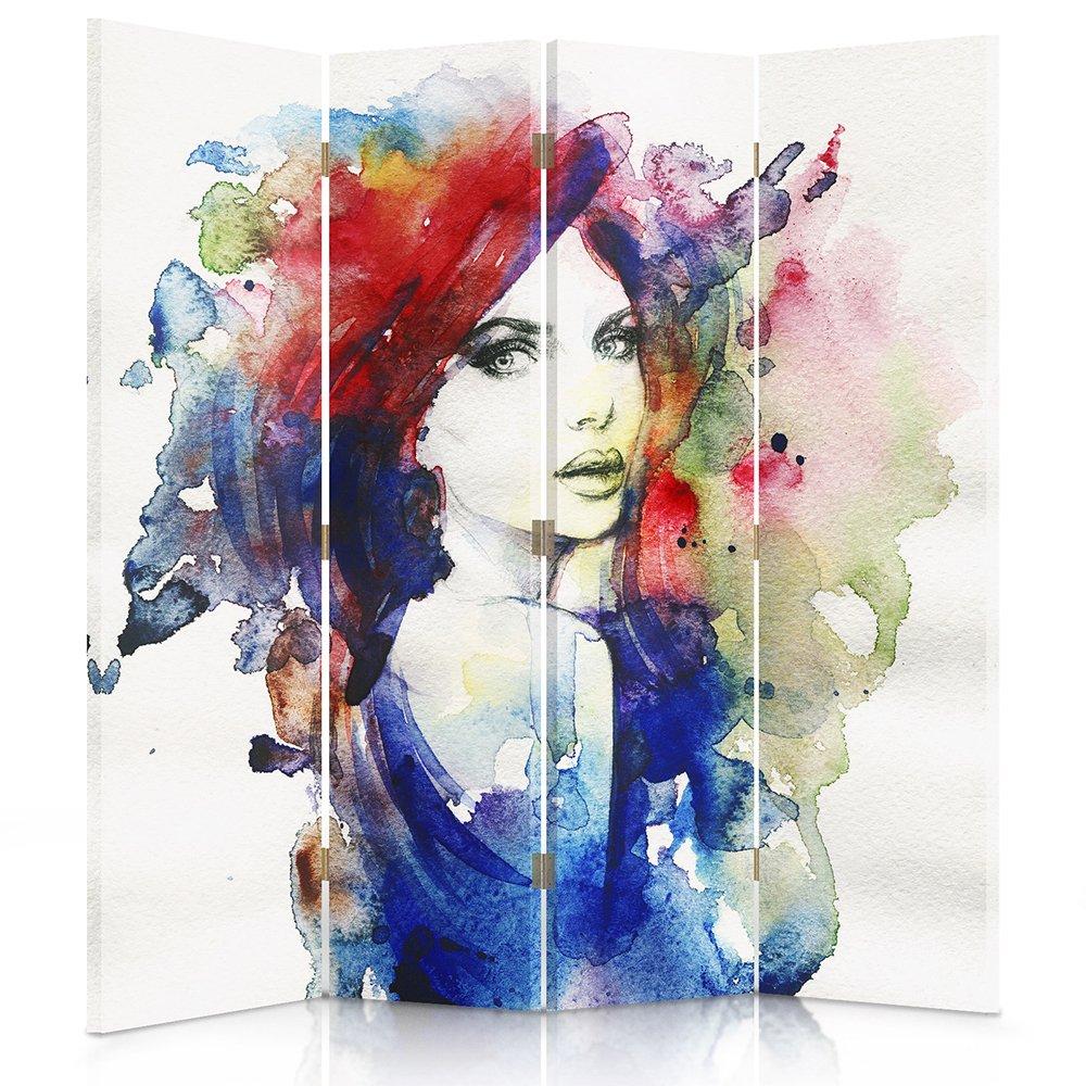 Il paravento stampato su telo,il divisorio decorativo per locali, bilaterale, a 3 parti (110x150 cm), DONNA, MULTICOLORE Feeby Frames