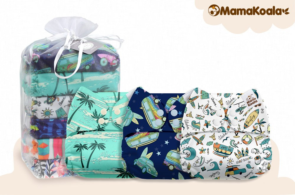 Happy Winter 6 Pack with 6 One Size Microfiber Inserts Mama Koala One Size Baby Washable Reusable Pocket Cloth Diapers