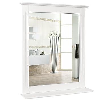 homfa miroir mural rectangulaire miroir de douche miroir maquillage pour salle de bain en mdf 57 - Miroir Mural Salle De Bain