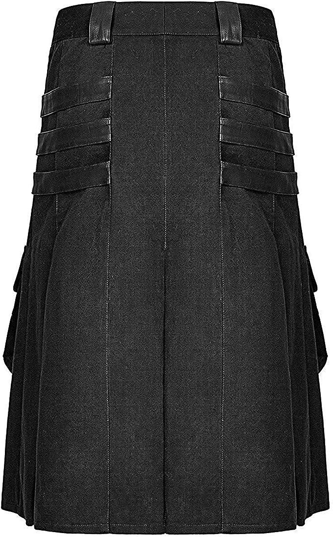 Punk Rave - Falda de Piel sintética para Hombre, diseño gótico de ...