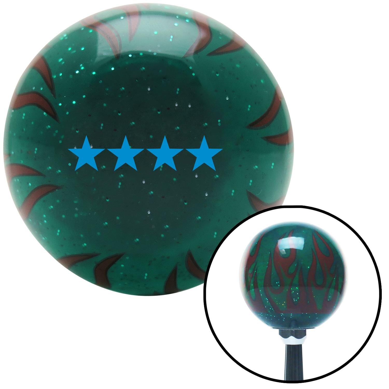 American Shifter 266478 Green Flame Metal Flake Shift Knob with M16 x 1.5 Insert Blue Officer 10 - Admiral