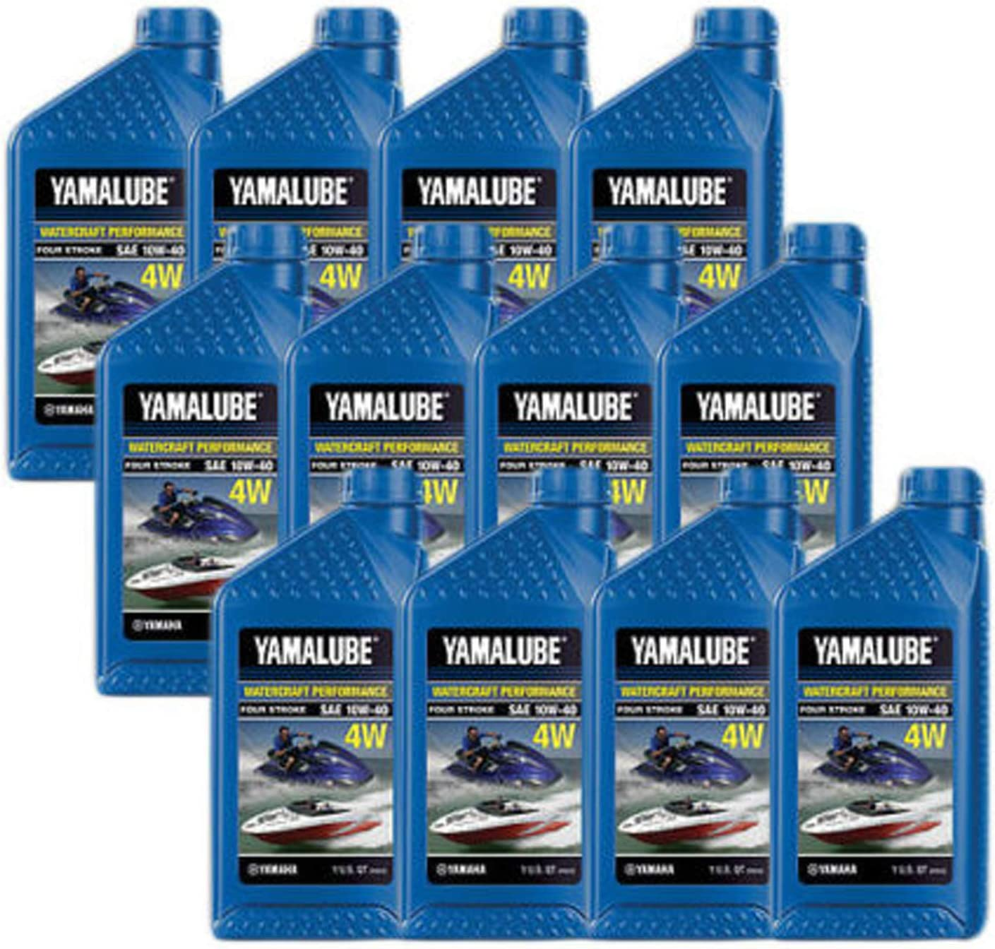 Yamaha Yamalube WaveRunner Jet Boat Engine Oil Case 12 of Quarts LUB-10W40-WV-12