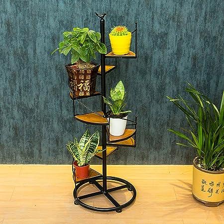 ZHEN GUO Escalera de Caracol de Metal Shapped Flower Racks Macetas de pie Estantería de Interior, Almacenamiento Decorativo Estantes de Madera 8 Tier (Color : Negro, Tamaño : Gran): Amazon.es: Hogar