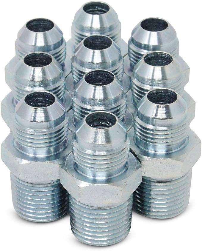 3//4-16 SAE x 3//4-14 NPTF Thread Brennan Industries 2404-08-12 Steel Straight Tube Fitting 1//2 Male JIC x 1//2 Male NPTF