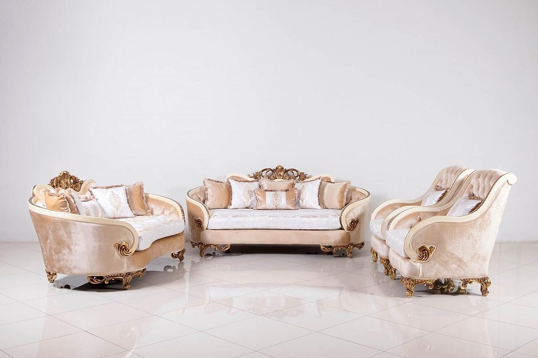 European Furniture 3 Pieces Rosabella Luxury Sofa Set