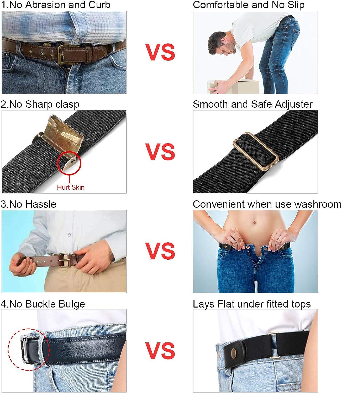 XZQTIVE Unsichtbarer G/ürtel-schnallenloser G/ürtel ohne Schnalle Damen Mens Buckle Komfortable elastische G/ürtel Jeans Hosen Einstellbar Taille G/ürtel