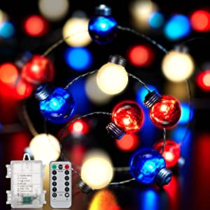 4th of July LED String Lights, 16.4FT 50LEDs Red White Blue Bulb Shape String Lights, Patriotic String Lights Battery Operated with Remote, for Independence Day for Independence Day, Christmas Decor