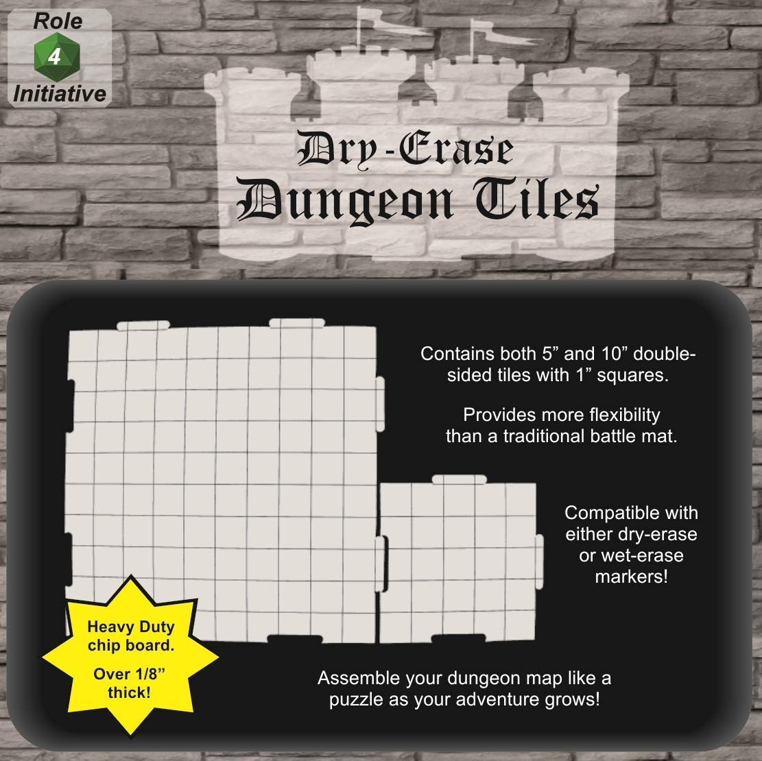 Dry Erase Dungeon Tiles, Combo Set of Five 10'' and Sixteen 5'' Interlocking Squares for Role-Playing and Miniature Tabletop Games