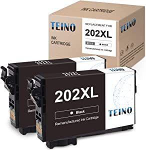 TEINO Remanufactured Ink Cartridges Replacement for Epson 202XL T202XL 202 T202 use for Epson Workforce WF-2860 Expression Home XP-5100 (Black, 2-Pack)