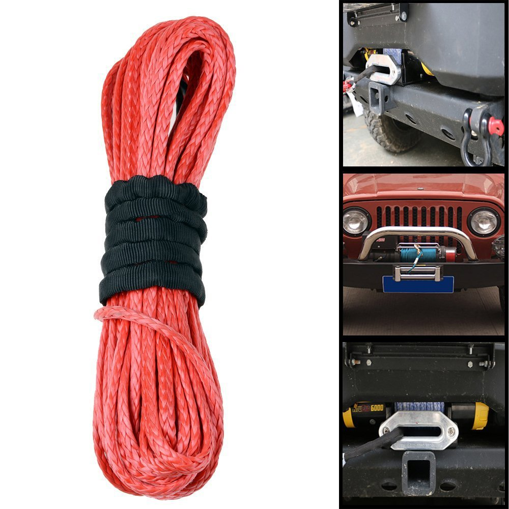 for Vehicle Car Motorcycle Truck Pickup SUV ATV UTV KFI,YELLOW by JINLI T/&HI-B0756SJKNQ Synthetic Fiber Winch Rope Amhousejoy 7700lbs 50x1//4 Line Cable Rope with Thimble Sheath