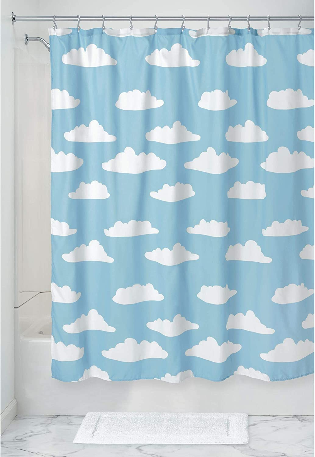 """iDesign Fabric Shower Curtain with Cloud Pattern Water-Resistant Shower Curtain for Kids, Teenagers, College Dorm Bathrooms, 72"""" x 72"""", Blue and White"""