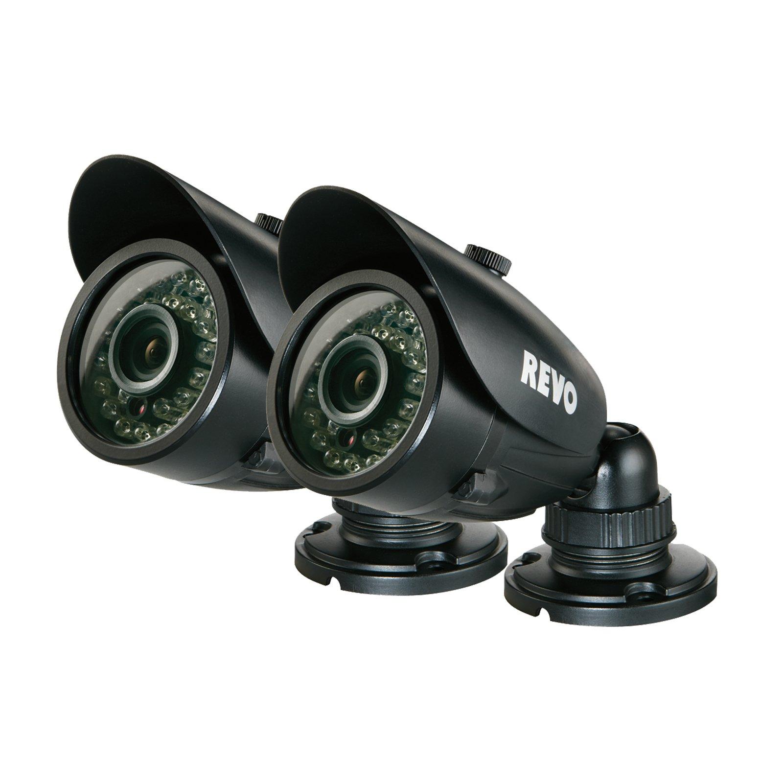REVO America RCBS30-3BNDL2 Indoor/Outdoor Bullet Surveillance Camera with Night Vision (Black), 2-Pack