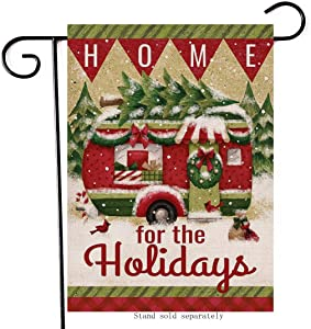 Artofy Home for The Holiday Decorative Small Garden Flag, Christmas House Yard Outside Decor Cardinals, Xmas Camper Home Decorations Winter Seasonal Outdoor Burlap Flag Vertical Double Sided 12 x 18