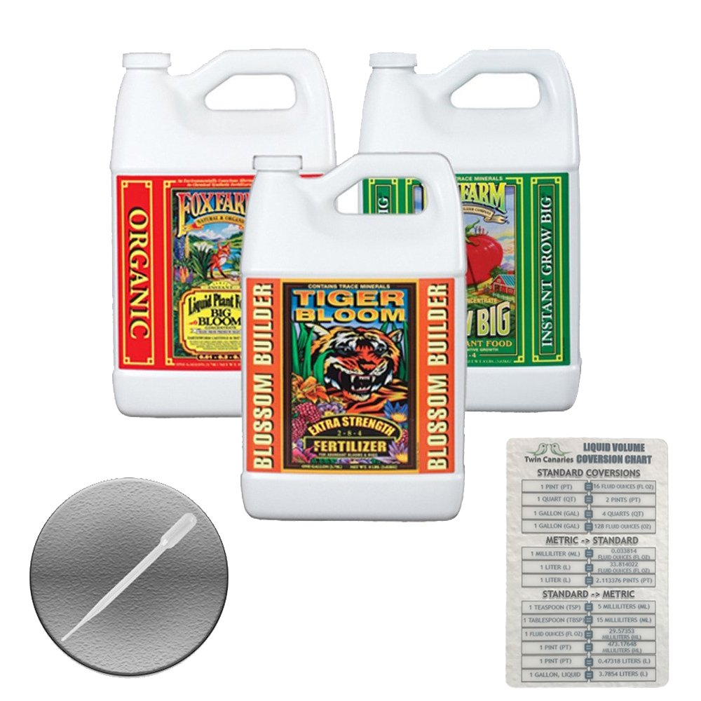 Fox Farm Liquid Nutrient Trio Soil Formula: Big Bloom, Grow Big, Tiger Bloom (Pack of 3 - 1 Gallon Bottles) + Twin Canaries Chart & Pipette by Fox Farm (Image #1)