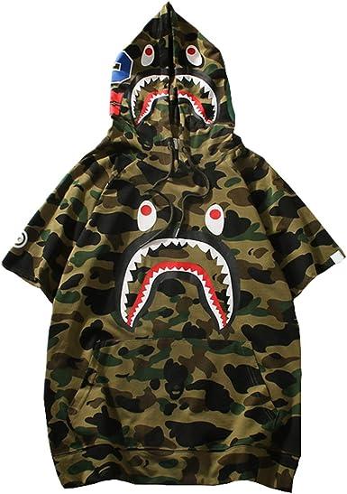 Manbozix - Camiseta con capucha para hombre de camuflaje, camisa, tiburón, casual, con capucha Camuflaje XL: Amazon.es: Ropa y accesorios