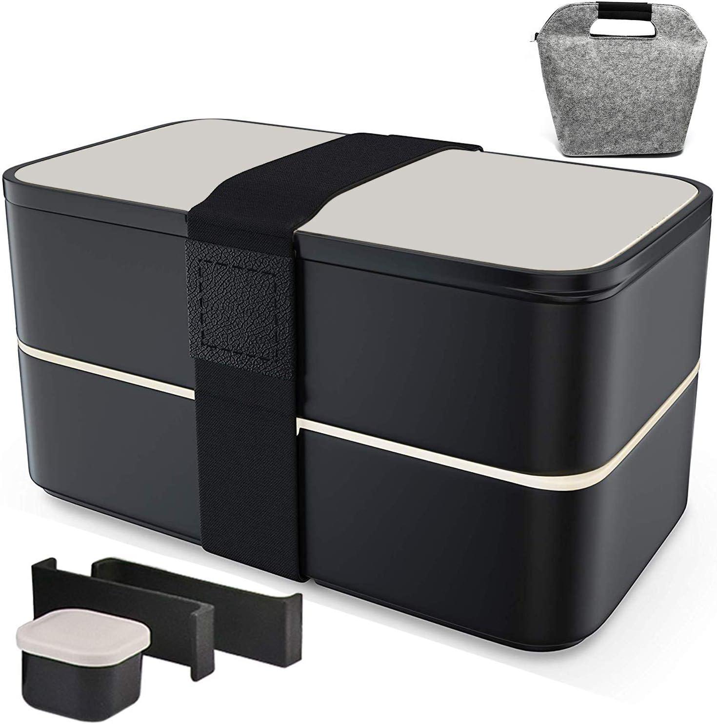 Fun Life Bento Box Contenedores de 1200 ml, 2 compartimentos con cubiertos reutilizables y bolsa de almuerzo estilo japonés para microondas lavavajillas (con caja de salsa): Amazon.es: Hogar