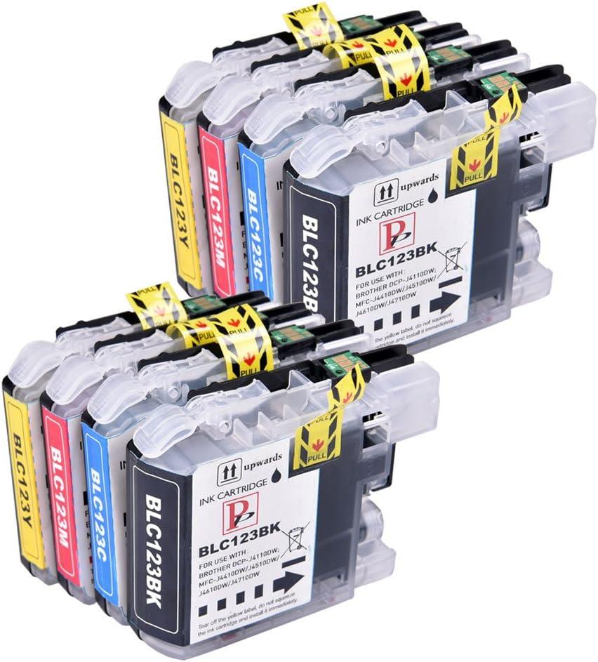 PerfectPrint - 8 Compatible LC123/LC121 cartuchos de tinta Brother ...