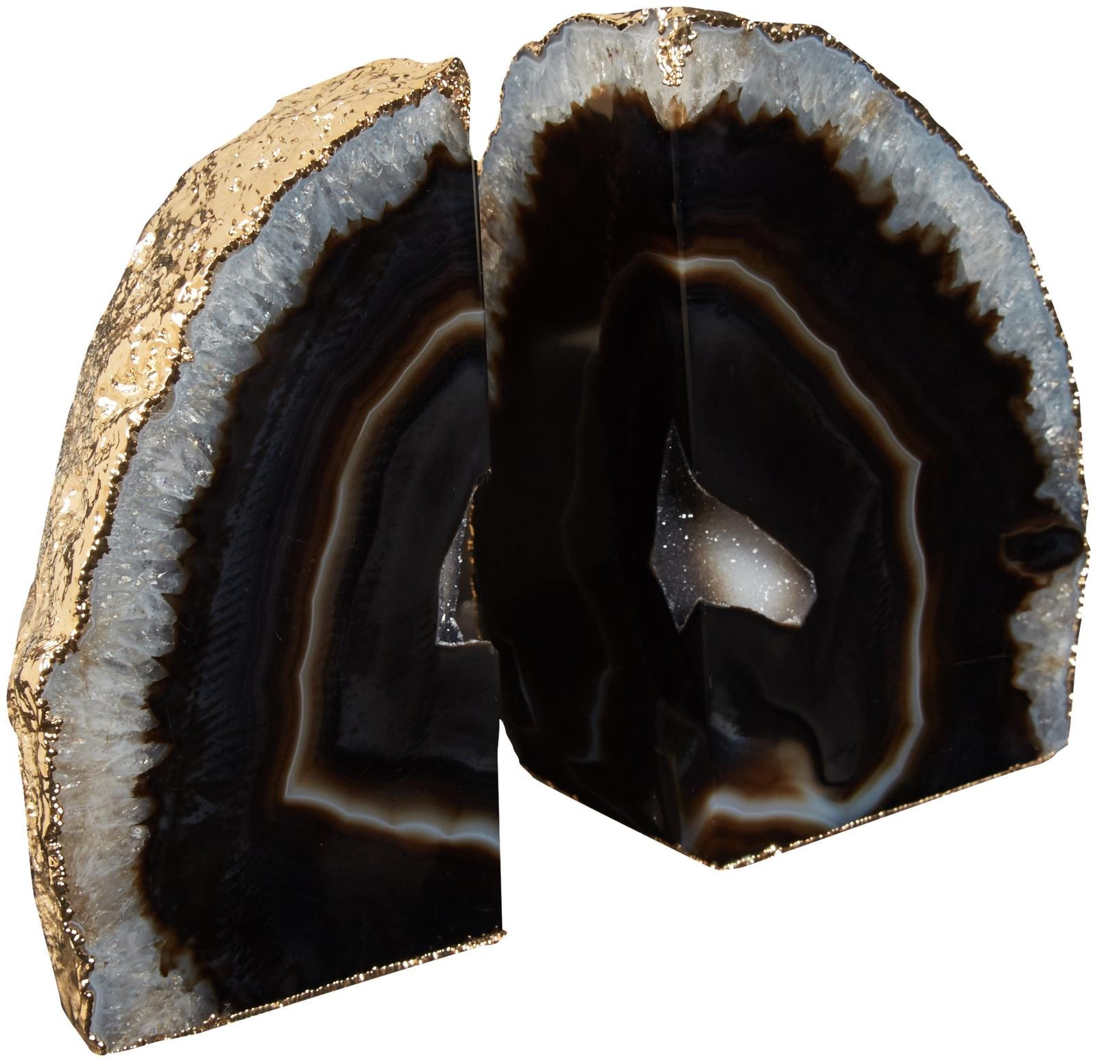 Bartky Minerals Agate Bookends Gold Electroplated - Black