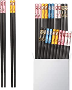 Hiware 10-Pairs Fiberglass Chopsticks - Reusable Chopsticks Non-slip Design, Multi-colored