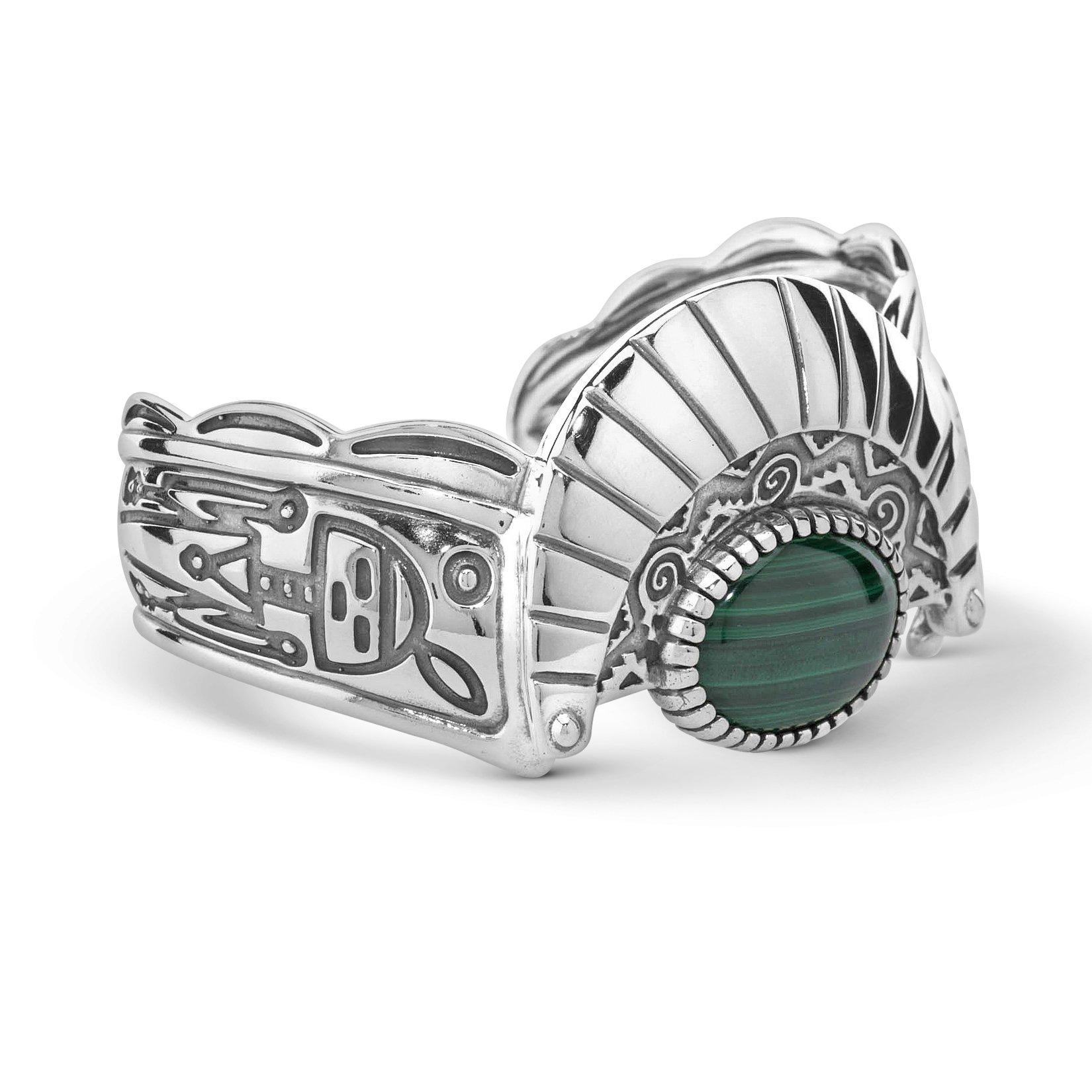 American West Fritz Casuse Genuine .925 Sterling Silver Green Malachite Harvest Moon Cuff Bracelet