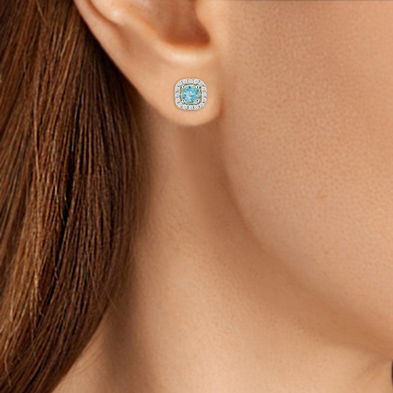 5mm CZ Simulated Aquamarine Screw Back Cushion Shape Halo Stud Earrings For Women Girls Yellow Gold Over