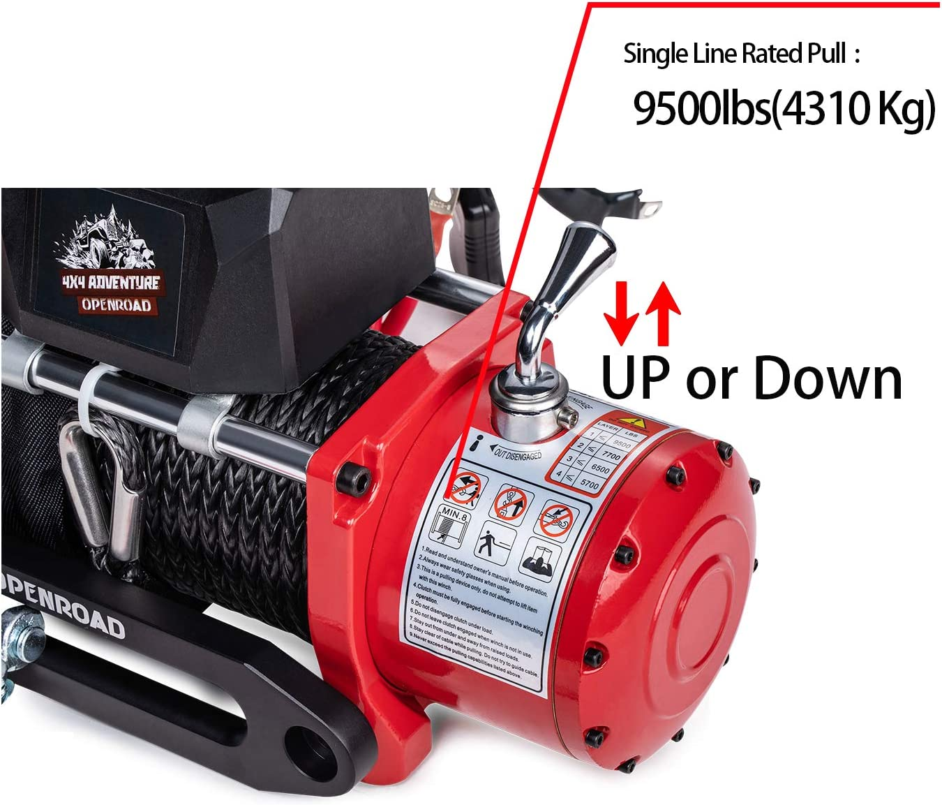 OPENROAD 12V 13000lb Electric Winch with 85ft Synthetic Rope ...