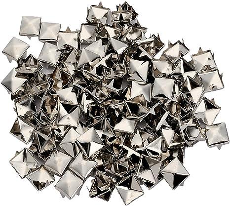 100pcs Punk Colors Metal Square Pyramid Rivet Cone Studs Nailhead Craft Spike DIY 10mm 3//8
