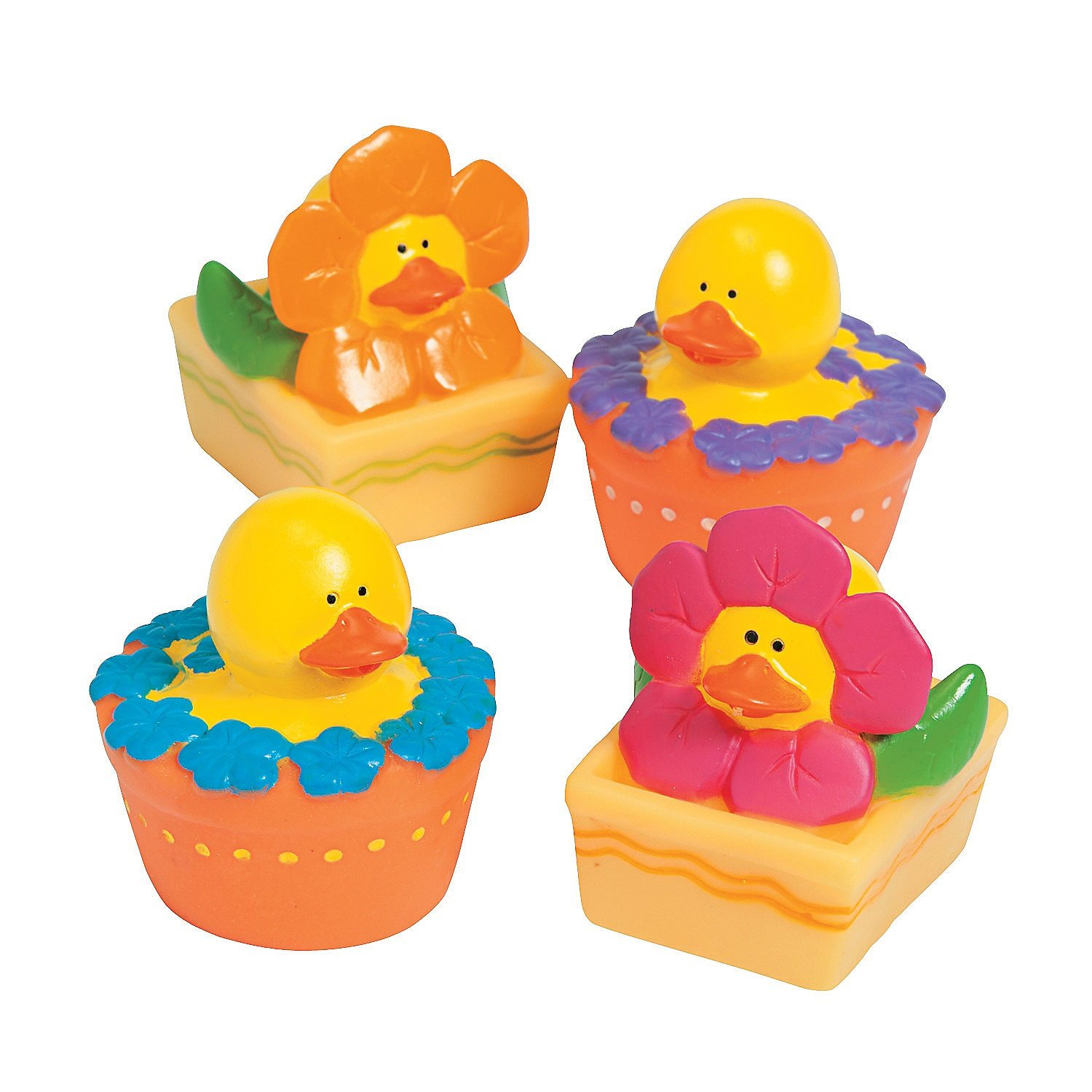 Fun Express Spring Flower Rubber Duckies 24 Count