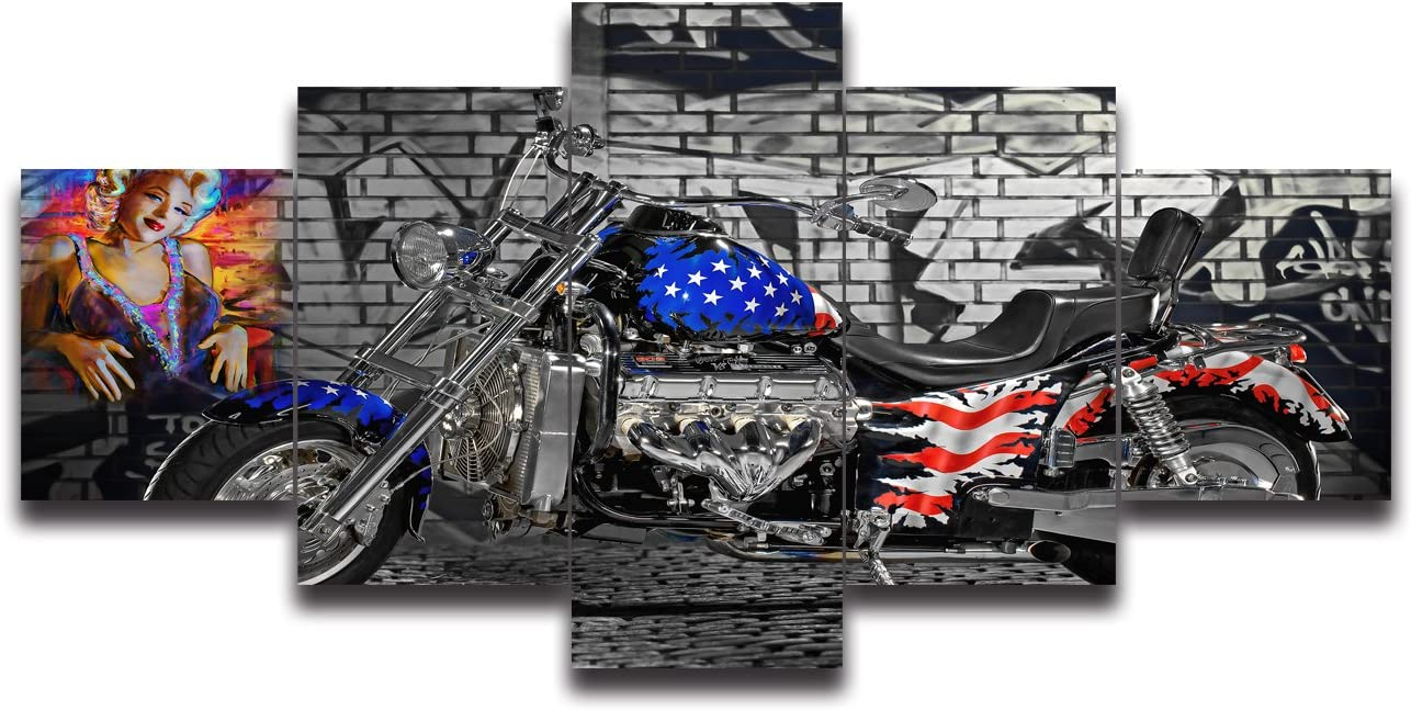 Retro Motorcycle with American Flag Painting on Canvas 5 Piece Framed Modern Contemporary Posters and Prints Wall Art for Living Room Bedroom Office Home Decor Gallery-wrapped Artwork 50 Wx24 H