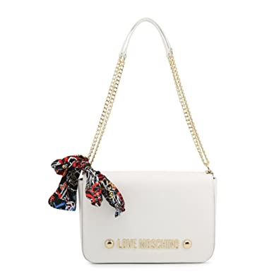 Moschino Love Moschino Women s Scarf Tie Chain Shoulder Bag One Size White 5faa3a36438