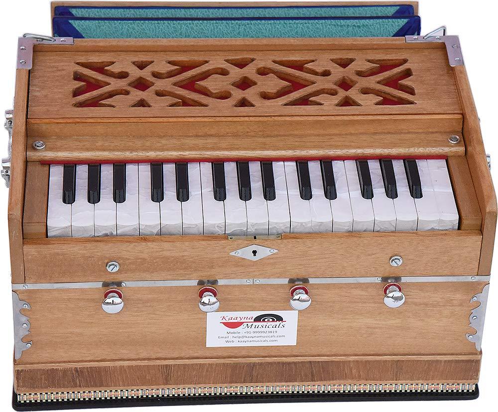Harmonium Mini Magic By Kaayna Musicals, 4 Stop- 2 Main & 2 Drone, 2¾ Octave, Teak Colour, Gig Bag, Bass/Male- 440 Hz, Best for Yoga, Bhajan, Kirtan, Shruti, Mantra, Meditation, Chant, etc.