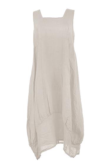 d7c001a6f7 TEXTURE Ladies Womens Lagenlook Plain Sleeveless Square Neck Linen Long Midi  Dress One Size (Beige