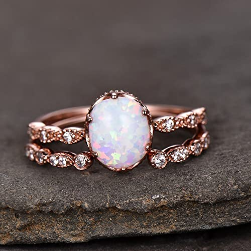 Opal Wedding Band.Amazon Com Opal Wedding Ring Set 8x10mm Oval White Fire Opal Art