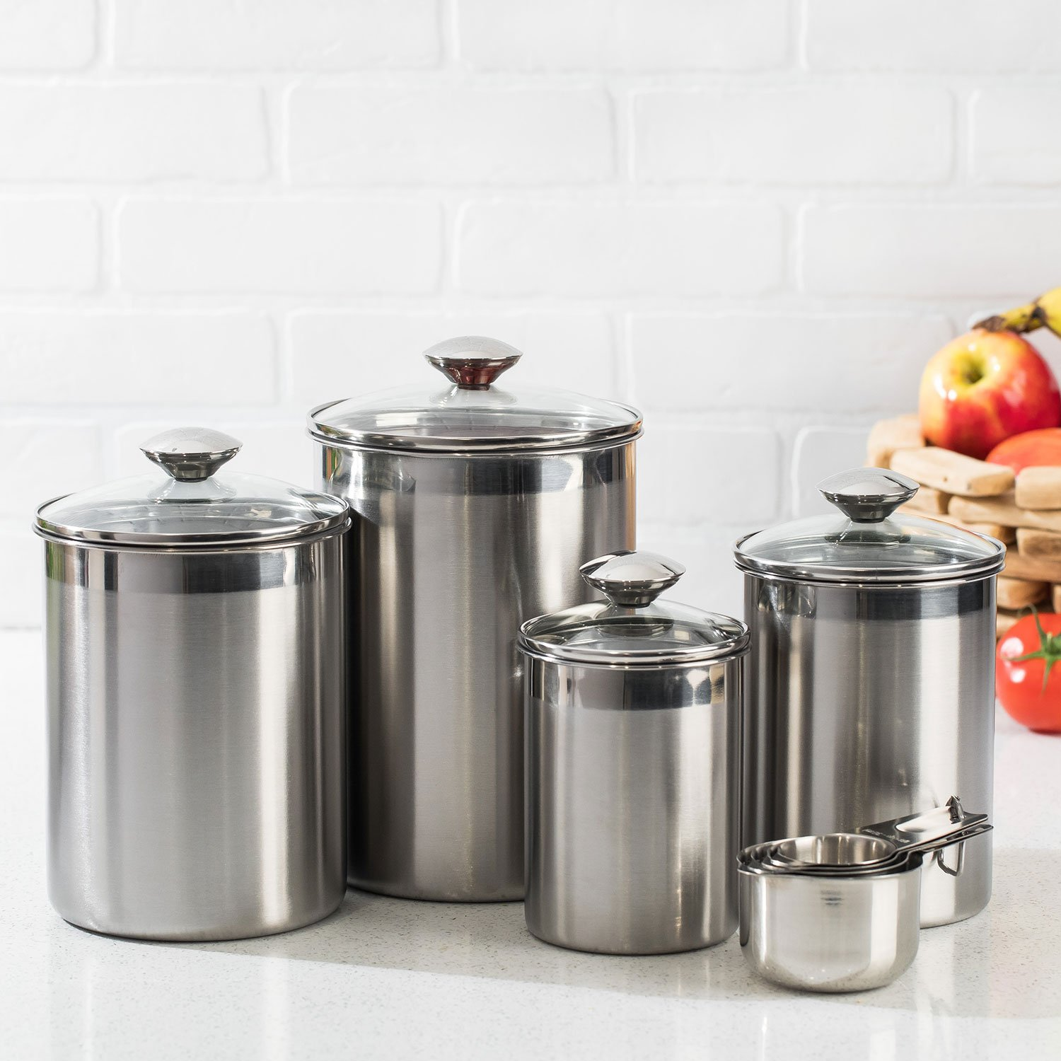 stainless steel canister sets kitchen silveronyx canister set stainless steel beautiful canister sets for kitchen 698257181896 ebay 5585