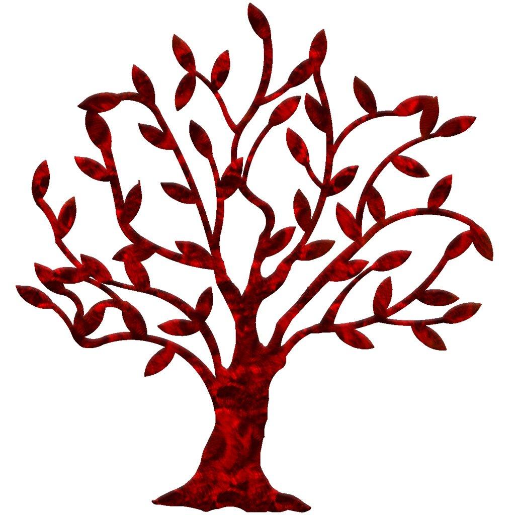 7055 Inc Artisan Dream Tree Metal Wall Art, Candy Red