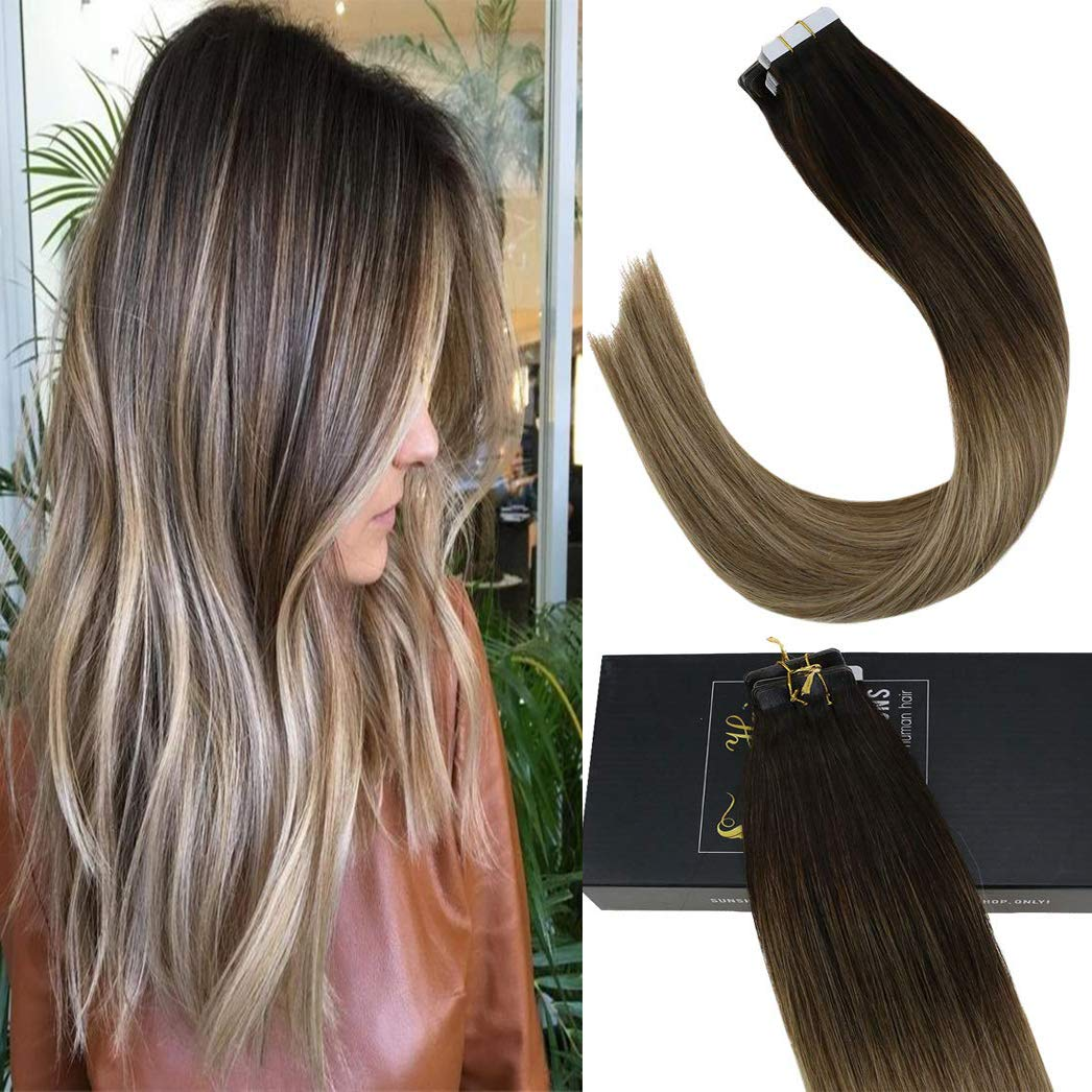 Sunny Tape in Remy Human Hair Extensions Balayage 14 inch #3 Darker Brown Ombre to #8 Highlighted with Ash Blonde Silky Straight Hair Extensions Tape in Hair 20pcs/50g by Sunny Hair