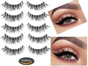 c87cb9e2b05 Amazon.com : Fake Eyelashes-Multipack Demi Wispies Fake Eyelashes 100%  Handmade 3D False eyelashes 5 Pair 10 Pieces : Beauty