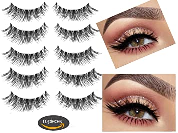 792149b9d97 Amazon.com : Fake Eyelashes-Multipack Demi Wispies Fake Eyelashes 100%  Handmade 3D False eyelashes 5 Pair 10 Pieces : Beauty