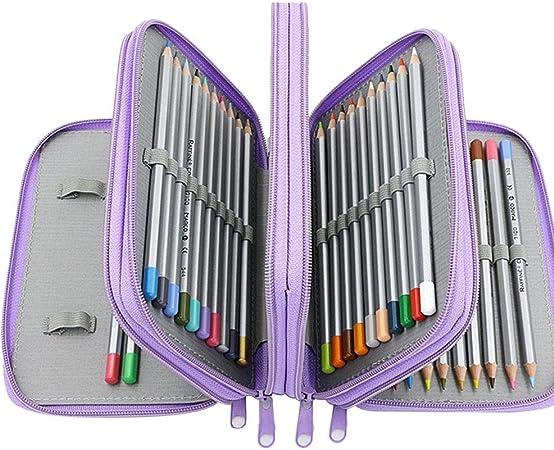 Estuche transparente con cremallera, 72 lápices de colores, 72 compartimentos, bolsa de almacenamiento de 4 capas de gran capacidad para niños, niñas, estudiantes, escuela, oficina, arte y manualidades: Amazon.es: Hogar