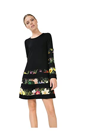 huge selection of f5b79 b1ba9 Desigual Schwarzes Kleid mit Blumen Flare Sleeve (XL ...