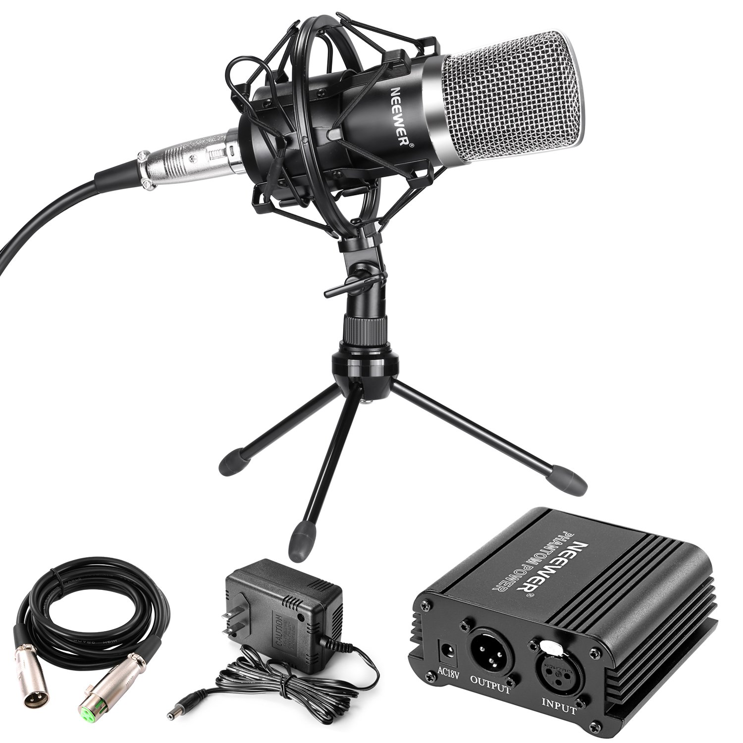 NW-700 MIC KIT+NW-073 TRIPOD DESKTOP STAND+48V PHANTOM POWER+AUDIO CABLE(SILVER) Neewer 90092268@@##1