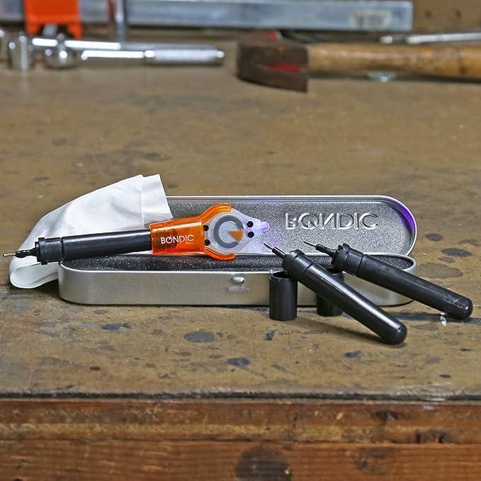 Soldador de plástico líquido Bondic Pro KitReparador instantáneo multifunción.Más rápido y más fuerte que cualquier pegamento, adhesivo o epoxi.