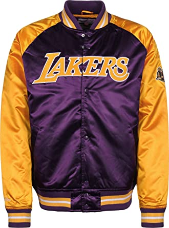 afd71a5d5e4 Amazon.com  Mitchell   Ness Los Angeles Lakers NBA HWC Tough Season Satin  Jacket Bomber College Jacke  Clothing