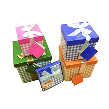 Pilot Imports Pack Of 4 Xmas Present Boxes Nested Oblong Folded Christmas Gift Box