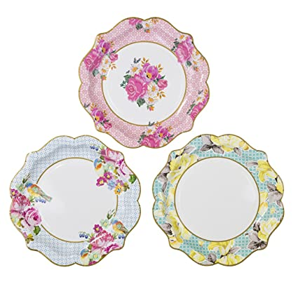 Amazon.com: Talking Tables Truly Scrumptious Floral Plates, 12 count ...