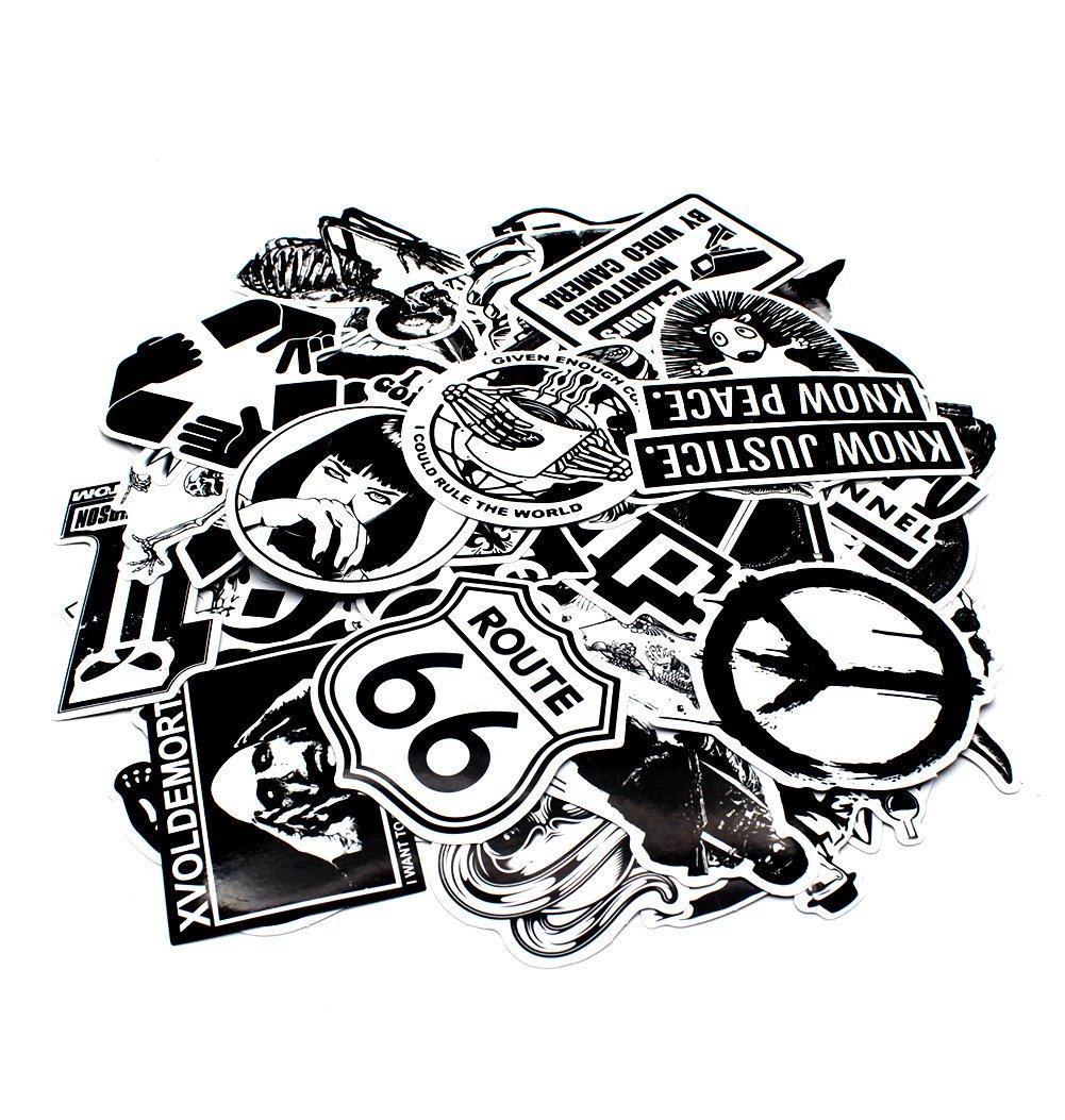 Nuoxinus Laptop Stickers 100pcs Black White Car Stickers Skateboard Luggage Bike Motorcycle Bumper Stickers Snowboarding Guitar Helmet Phone Graffiti Stickers Decals